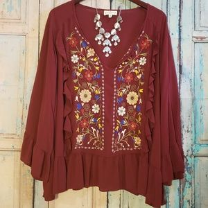 Boho plus size embroidery top by Grand & Greene 3X